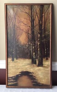 Antique Oil Painting on Canvas Landscape Framed $95.00