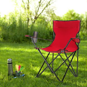Heavy Duty Folding Camping Chairs Outdoor with Cup Holder Oversized Fishing Seat