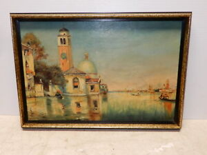 ANTIQUE OIL ON CANVAS VENICE ITALY 1914 $124.99