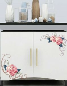 """NEW 8"""" Small Pink Roses Vinyl Corner Wall Furniture Window Cabinet Decals"""
