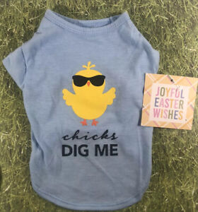 "JOYFUL EASTER WISHES SMALL NWT Puppy Blue Cute T shirt Chick ""Chicks Dig Me� $11.00"