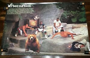 Vintage CHICAGO BEARS Poster 1988 Brookfield Zoo Grizzly Hibernation Clements