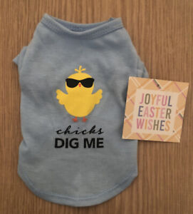 "JOYFUL EASTER WISHES X SMALL NWT Puppy Blue Cute T shirt � ""Chicks Dig Me� $10.50"