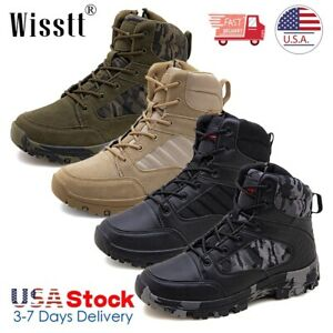 Mens Army Military Combat Boots Waterproof Work Shoes Special Leather Police S3