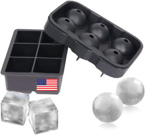 Ice Cube Sphere Mold Set of 2 Silicone Whiskey Ice Ball Maker Lid Funnel