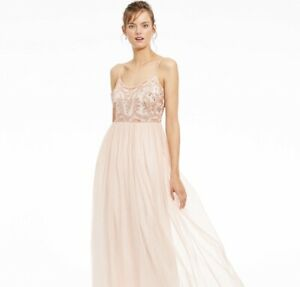 Adrianna Papell Beaded Top Blush Pink Long Dress Gown Quince Size 10 $199 $45.00