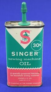 Vintage 30 Cent Singer Sewing Machine Oil Can Tin Handy Oiler #3659 $5.99