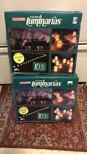 Lot Of 2 Brown amp; White Electric Luminarias Complete 2 Sets Of 10 Nib