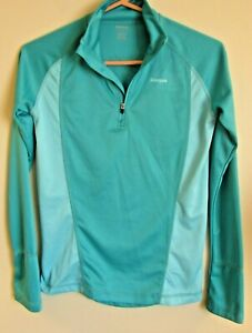 Reebok Womens Size S Dry Fit Shirt Long Sleeve Athletic Running 2 Tone Teal Blue $15.99