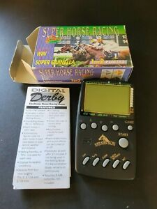 SUPER HORSE RACING ELECTRONIC HANDHELD TRAVEL LCD GAME w BOX MANUAL   $75.00