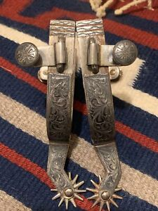 Vtg Antique Double Mounted Sterling Silver Spurs Cowboy Prison Made Fleming