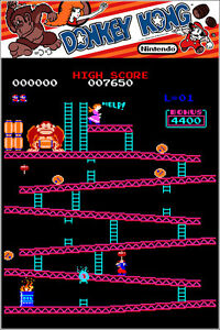 Donkey Kong Authentic Arcade Marquee 24x36 Nintendo Video Game Giclee Art Poster $24.99