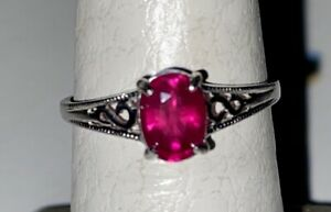 Vibrant African Ruby and Sterling Silver Scroll Ring Size 6.75