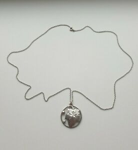 Mid Century Norwegian Silver 830s Necklace Pendant Leaf