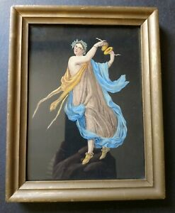Small framed 19th century colored lithograph of Classical Herculaneum dancer $18.00