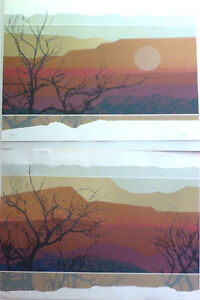 Pair WESTERN MOUNTAIN DESERT LANDSCAPE LIMITED EDITION SIGNED LITHOGRAPHS 30x22 $115.82