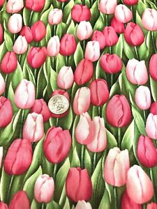 The Quilting Garden 662 Tulips Northcott Pink Green Fabric 3 Yard $29.99