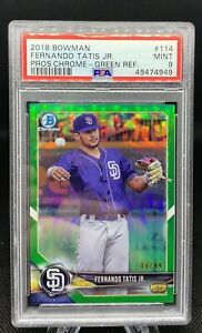 Fernando Tatis Jr ROOKIE 2018 Bowman Chrome GREEN REFRACTOR # 99 🔥🔥 PSA 9 🤩 $349.99