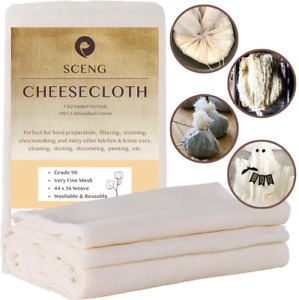 Cheesecloth Grade 90 9 Sq Feet 100% Unbleached Cotton Fabric Ultra Fine for