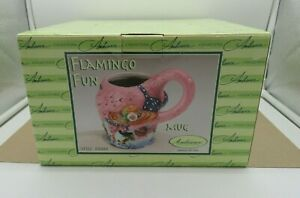 Lot of 4 Pink Flamingo In A Bikini Coffee Cup Mug by Ambiance Collection 4 $14.99