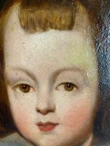 Antique 19th C Folk Art Portrait Painting Of A Young Boy In Royal Attire $850.00