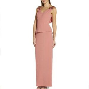 NWT Adrianna Papell Pink Peplum Crepe Embelleshed Elegant Long Maxi Gown 8 $229 $89.00