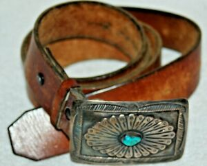 Vintage Craftmasters Of Nantucket TURQUOISE Silver sterling Buckle Leather Belt $225.00