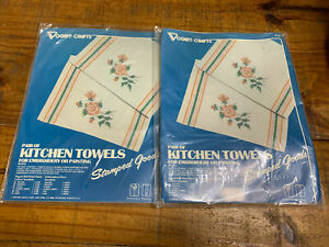VOGART CRAFTS Kitchen Towels Embroidery Vintage Kit #8722A Roses NEW $15.99