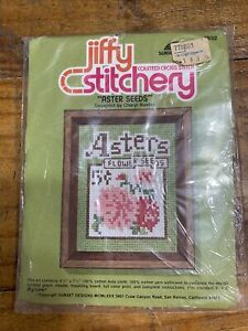 JIFFY Stitchery Counted Cross Vintage Kit ASTER SEEDS 932 Fits 4 x 5 Frame NEW $11.99