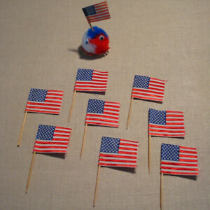 100X American USA Flag Picks Paper Toothpick Food Cupcake Party Cocktail Q9P1