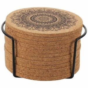Wooden Coaster with Storage Stand Mandala Design Round Waterproof for Tea Cup $22.79