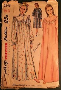 Vintage Sewing Pattern: MISSES#x27; NIGHTGOWN long amp; short size 20 bust 38 2646 $5.99