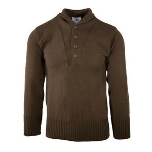 GI Men#x27;s 5 Button Sweater 100% Knitted Wool US Military Brown Made in USA $29.99