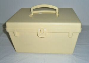 Vintage Yellow Plastic Sewing Box Organizer With Removable Tray $14.99