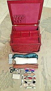Xtra Large Sewing Basket Notions 16quot; x 13quot; x 10quot; Weaved Burgundy Notions $38.99