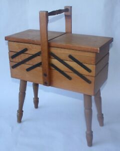 ACCORDION STYLE WOODEN SEWING BOX $57.99