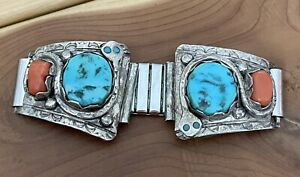 Vintage Effie Calavaza Zuni Turquoise Coral Snake Sterling Silver Watch Tips