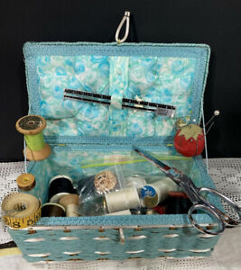 Vintage Dritz Sewing Basket Box 1960 70s Turquoise Wicker Floral thread more $45.00