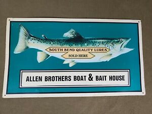 South Bend Quality Lures Allen Brothers Boat amp; Bait Tin Sign