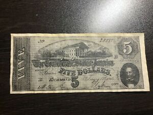 1864 $5 FIVE Dollars Confederate States of America Civil War Note REPRODUCTION