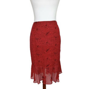 Chicos Skirt Womens Size Large 12 Red Silk Paisley Ruffle Trumpet Knee $16.61