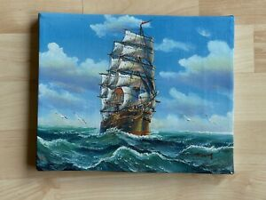 Oil on Canvas Signed Seascape Painting Depicting Clipper Ship Sailboat $175.00