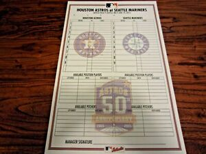 Astros vs Mariners 2015 Non Game Used Line Up Card 6 19 2015 50th Logo MLB