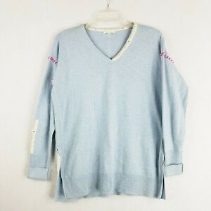 LISA TODD Sweater Small Sewing Measuring Tape Rare Light Blue Cotton Cashmere $52.88
