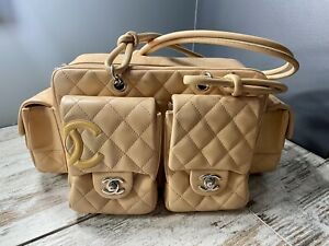 $3900 Chanel Beige Quilted Leather Ligne Cambon Reporter Bag $1790.00