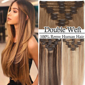 170G Thick Remy Human Hair Clip in Real Hair Extensions Full Head Double Weft US $30.26