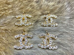 4 Gold CC Crystal Scalloped Logo Stamped for Chanel 22mm Zipper Pull Lot $100.00