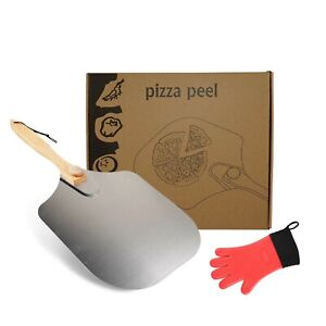 Pizza Peel Aluminum Pizza Paddle with Foldable Wood Handle 12 inch x 14 inch...