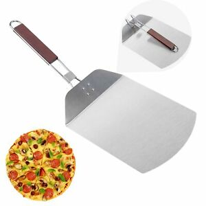 Pizza Peel McoMce Stainless Steel Metal Pizza Paddle with Foldable Long Wood...