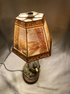 Vintage Duck Lamp With Reverse painting Plastic celluloid Shade